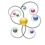 Multicolor balls swirls background Royalty Free Stock Photo
