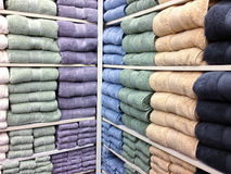 Multicolor bath towels for sale royalty free stock photos
