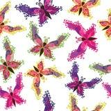 Multicolor batterfly безшовная картина Стоковое Изображение