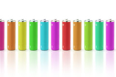 Multicolor batteries Royalty Free Stock Photos