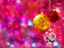 Multicolor baubles, defocused lights. EPS 8 Stock Photos