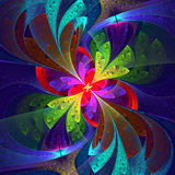 Multicolor beautiful fractal flower. Royalty Free Stock Image