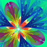 Multicolor beautiful fractal flower in green and blue. Computer Royalty Free Stock Images