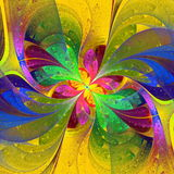 Multicolor beautiful fractal flower on yellow background. Comput Royalty Free Stock Photography