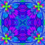 Multicolor beautiful fractal in stained glass window style. Comp Royalty Free Stock Photo