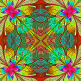 Multicolor beautiful fractal in stained glass window style. Comp Stock Photo
