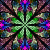 Multicolor beautiful fractal in stained glass window style. Comp stock photos