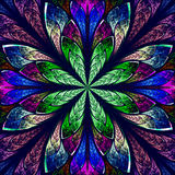 Multicolor beautiful fractal in stained glass window style. Stock Images