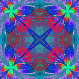 Multicolor beautiful fractal in stained glass window style.  Stock Photo
