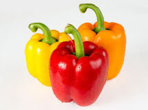 Multicolor Bell Peppers Over White Background Stock Photography