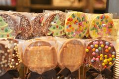 Multicolor biscuits on the market for Christmas stock photo