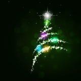 Multicolor Bokeh Christmas Tree Stock Photo