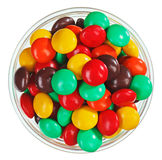 Multicolor bonbon sweets in glass bowl Stock Images