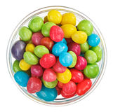 Multicolor bonbon sweets in glass bowl, isolated Stock Photos