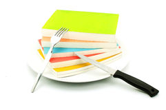 Multicolor books on a plate Stock Photo