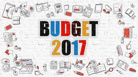 Multicolor Budget 2017 on White Brickwall. Doodle Style. Budget 2017 - Multicolor Concept with Doodle Icons Around on White Brick Wall Background. Modern Stock Image