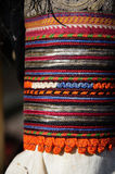 Multicolor bulgarian textiles. At the national market Stock Image