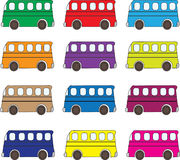 Multicolor buses background Stock Image