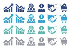 Business Related Vector icons for websites and applications. Multicolor Business Related Vector icons set for websites and applications Stock Photo