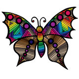 Multicolor butterfly for tattoo, coloring book for adult and kid Royalty Free Stock Photo