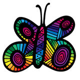 Multicolor butterfly for tattoo, coloring book Royalty Free Stock Photos