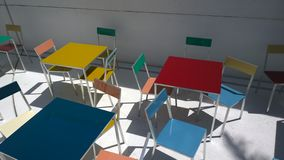 Multicolor cafe tables Stock Photography