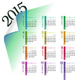 Multicolor 2015 calendar. Minimalistic multicolor 2015 calendar design - week starts with sunday vector illustration