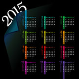 Multicolor 2015 calendar. Minimalistic multicolor 2015 calendar design - week starts with sunday stock illustration