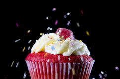 Multicolor candy topping pouring on strawberry delicious cupcake muffin in sugar temptation concept. Close up view of multicolor candy topping pouring on Stock Photography