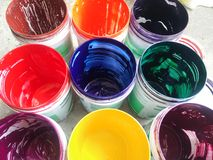 Multicolor in cans. Paint color for art Stock Image