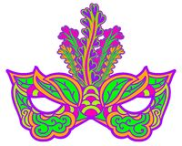 Multicolor carnival mask with feathers isolated on white. Element for Mardi Gras. Stock Image