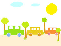 Beautiful cars. Multicolor cars among trees Stock Photography