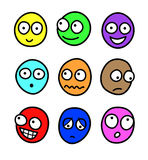 Multicolor cartoon facial expressions Royalty Free Stock Image