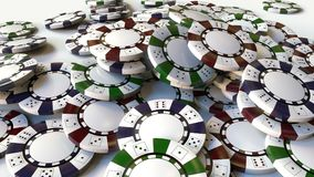Pile of multicolor casino chips or tokens. 3D rendering. Multicolor casino chips, close up vector illustration