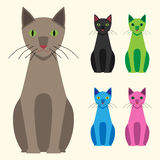 Multicolor cats set Royalty Free Stock Image