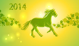 Multicolor Chinese New Year of horse 2014 background. Chinese New Year 2014. Running green and yellow horse over contemporary transparent lights background royalty free illustration