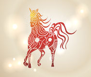 Multicolor Chinese New Year of horse 2014 background. Chinese New Year 2014. Multicolor running horse with tribal flowers design over transparent lights Stock Image