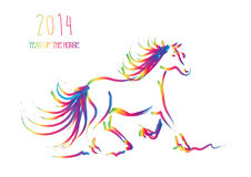 Multicolor Chinese New Year of horse 2014 isolated. Happy Chinese New Year 2014. Multicolor contemporary running horse isolated over white.  EPS10  file Royalty Free Stock Photo