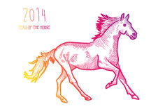 Multicolor Chinese New Year of horse 2014 isolated. Happy Chinese New Year 2014. Multicolor contemporary running horse isolated over white. EPS10 file organized stock illustration