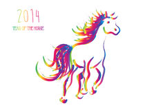 Multicolor Chinese New Year of horse 2014 isolated. Happy Chinese New Year 2014. Multicolor contemporary running horse isolated over white. EPS10 vector file vector illustration