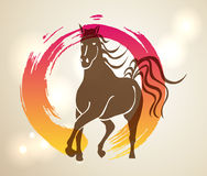 Multicolor Chinese New Year of horse 2014 Zen background Stock Images