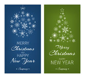 Multicolor christmas cards with ball and tree from Royalty Free Stock Image