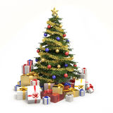 Multicolor christmas tree isolated Stock Photo
