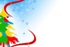 multicolor christmas tree left side, abstrack background Stock Image