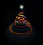 Multicolor christmas tree light painting Royalty Free Stock Image
