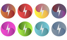 Multicolor circles logo whith lightning Stock Image