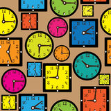 multicolor clock on seamless pattern Royalty Free Stock Photos