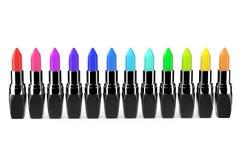 Multicolor closeup lipsticks Stock Photo