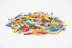 Multicolor clothespins Obraz Stock