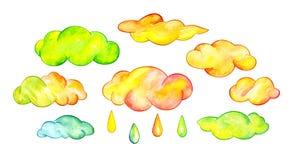 Multicolor clouds and rain drops. Funny cartoon sky. Watercolor illustration Stock Photo
